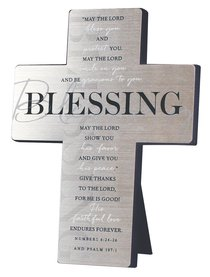Metal Desktop Cross: Blessing, Silver Printed (Numbers 6:24-26 & Psalm 107:1)