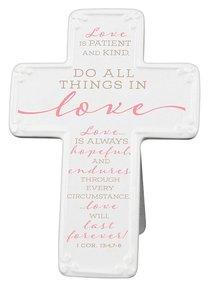 Ceramic Cross: Love, Pink/White (1 Cor 13:4,7-8)