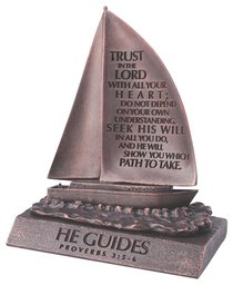 Moment of Faith Small Bronze Sculpture: He Guides Sailboat Cast Stone (Prov 3:5-6)