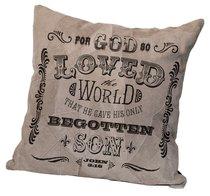 Leather Pillow: For God So Loved the World, John 3:16, 35Cm X 35Cm