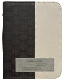 Bible Cover Divine Details: Large, Phil 4:13, (Charcoal/beige)