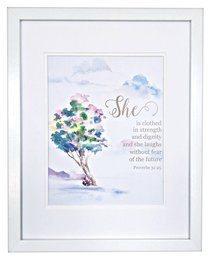 Medium Framed Print: She is Clothed, Watercolour Tree, Proverbs 31:25