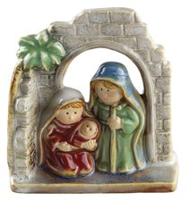 Childrens Nativity Holy Family Colour Glazed