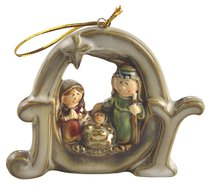 Porcelain Holy Family Tree Ornament Colour Glazed: Joy