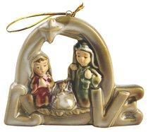 Porcelain Holy Family Tree Ornament Colour Glazed: Love