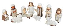 Resin Knitted Finish Childrens 11 Piece Nativity Set Cream