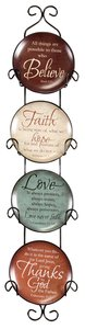 Ceramic Plates With Rack Set of 4: Believe, Faith, Love & Thanks
