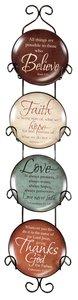 Ceramic Plates With Rack Set of 4: Believe, Faith, Love & Thanks