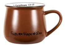 Mug: Faith, Hope & Love Brown