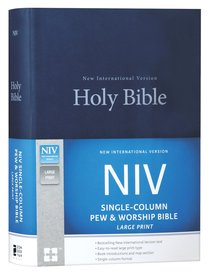 NIV Single-Column Pew and Worship Bible Large Print Blue (Black Letter Edition)