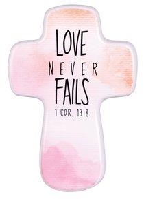 Ceramic Cross: Love Never Fails, Watercolor Script, (1 Cor 13:8)