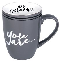 Ceramic Mug: You Are An Overcomer Gray/White (Phil 4:13)