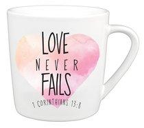 Ceramic Mug: Love Never Fails, Watercolor Script (1 Cor 13:8)