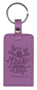 Leather Lux Keyring: Love, 1 Corinthians 13:7, Purple