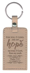 Leather Lux Keyring: Hope, Psalm 71:5, Pearl