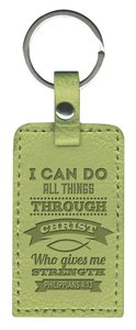 Leather Lux Keyring: I Can Do All Things, Philippians 4:13, Green