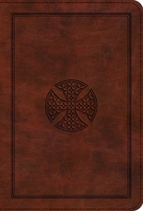 ESV Large Print Compact Bible Brown Mosaic Cross Design Red Letter Edition