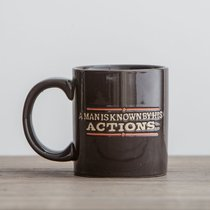 Ceramic Mug: Man is Known By His Actions, a (Prov 21:8) (Black/white)