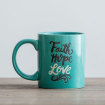 Ceramic Mug: Faith, Hope, Love (1 Cor 13:13) (Turquoise/black/white)