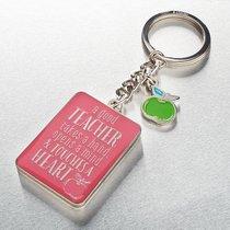 Metal Keyring in Tin: Teacher, Pink/Green Apple (1 Cor 16:14)