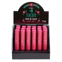 Stylish Pen/Case Gift Set: The Best Teachers Teach From the Heart, Not From Books (Pink)
