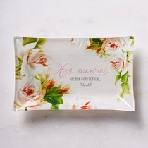 Small Glass Trinket Tray: His Mercies Are New Every Morning, Floral