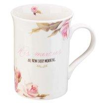 Ceramic Mug & Coaster Set: His Mercies, White/Floral