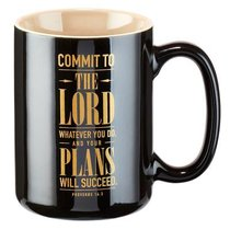 Ceramic Mug: Graduation, Commit to the Lord... Black/Gold) (Prov 16:3)
