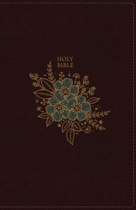 NKJV Thinline Bible Compact Burgundy Floral Design (Red Letter Edition)