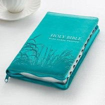 KJV Gift and Award Bible Zippered Aqua Red Letter Edition