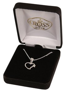Necklace: Silver Plated Open Heart With Cross on 45Cm Silver Plated Chain