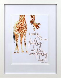 Framed Childrens Print Watercolour Giraffe Fearfully & Wonderfully Made (Psalm 139:14)