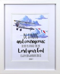 Framed Childrens Print Watercolour Plane Be Strong and Courageous (Joshua 1:9)