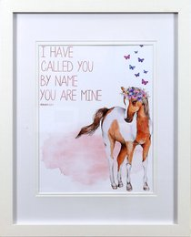 Framed Childrens Print Watercolour Pony With Butterflies, I Have Called You By Name (Isaiah 43:1)