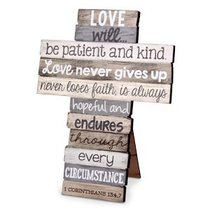 Stacked Wood Cross: Love, Medium (1 Cor 13:4-7)