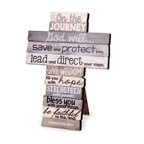 Stacked Wood Cross: Journey, Small, (Jer 29:11)