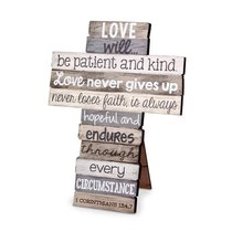 Stacked Wood Cross: Love, Small (1 Cor 13:4-7)