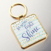 Metal Sparkle Keyring: Let Your Light Shine (Turquoise) (Matthew 5:16)