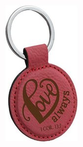 Faux Leather Keyring: Love Always (1 Cor 13:7) (Dark Pink)