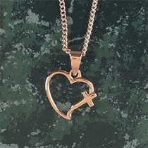 Necklace: Rose Gold Plated Open Heart Cross Necklace on 45Cm Rose Gold Plated Chain