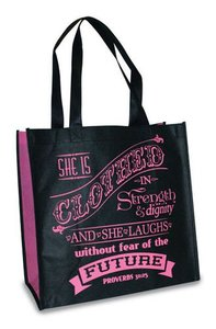 Eco Totes: Proverbs 31 Woman, Black With Pink Sides