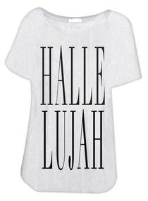 T-Shirt: Hallelujah Small White/Black Writing
