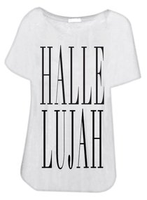 T-Shirt: Hallelujah Large White/Black Writing