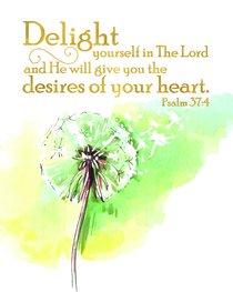 Medium Framed Print: Watercolour Green Flower, Delight, Psalm 37:4