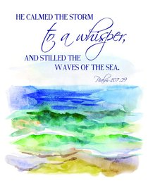 Medium Framed Print: Ocean Waves - He Calmed the Storm to a Whisper Psalm 107:29