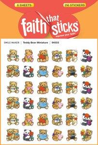 Teddy Bear Miniature (6 Sheets, 216 Stickers) (Stickers Faith That Sticks Series)