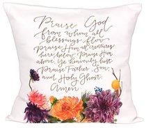 Gracelaced Doxology: Pillow, White/Colored Floral Arrangement Under Doxology