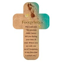 Bookmark Cross-Shaped: Footprints, Beach Scene