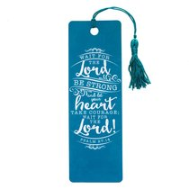 Bookmark With Tassel: Wait For the Lord.... Turquoise/White