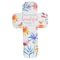 Bookmark Cross-Shaped: God Makes Beautiful Things... Eccles 3:11 (Colorful Floral)